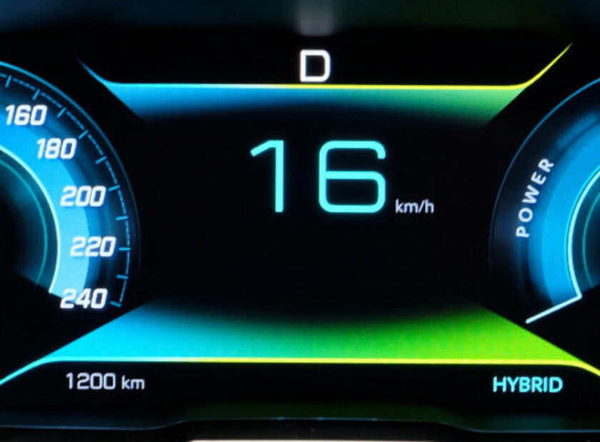 instrument panel dash of an electric vehicle